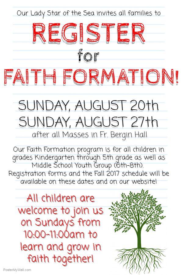 Register for Faith Formation! (Classes start 9/17)