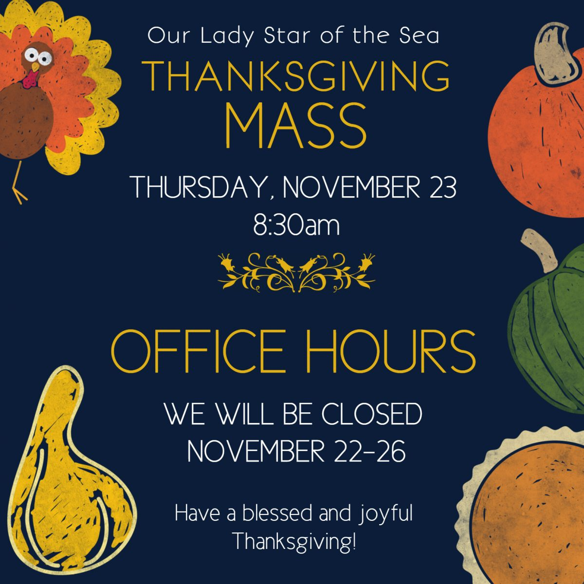 Thanksgiving Mass Times & Office Hours